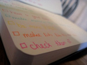 checklist in a notebook, image by mt23